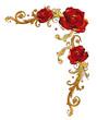 Rosen, Rosenranke, flora, Blumen, Blüten, rot, gold