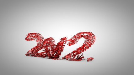 2011 to 2012 3d Particle Text Animation