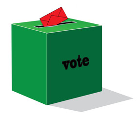 red envelope with green voting box