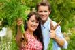 Gartenarbeit im Sommer - Paar erntet Karotten