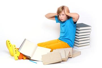 Frustrated schoolgirl with book.