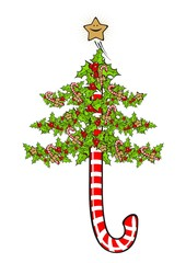 Illustration of a candy cane Christmas tree