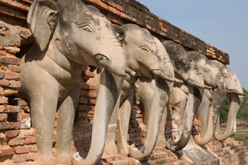 elephant statue around pagoda