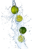 Fresh limes with water splash, isolated on white background - 37442367