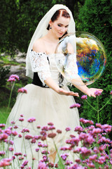 The bride and soap bubbles