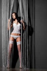 elegant fashionable woman in underwear