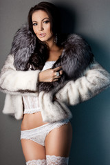 elegant fashionable woman in fur