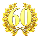 60 sixty number laurel wreath