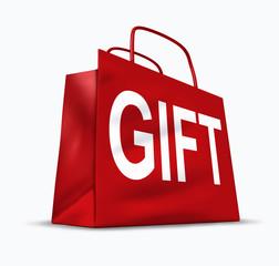 Gift red shopping bag