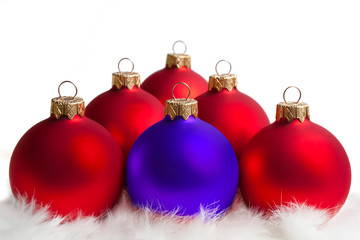 red and blue Christmas tree balls