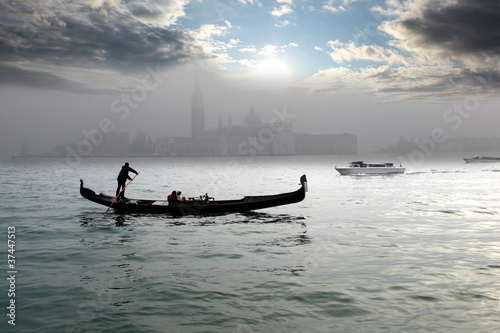 Aluminium Gondolas Venice with gondola on canal in Italy