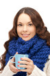 woman with blue mug