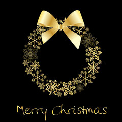 Christmas wreath with golden bow