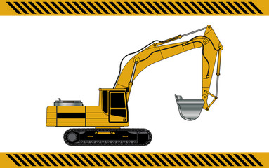 excavator construction machinery equipment isolated