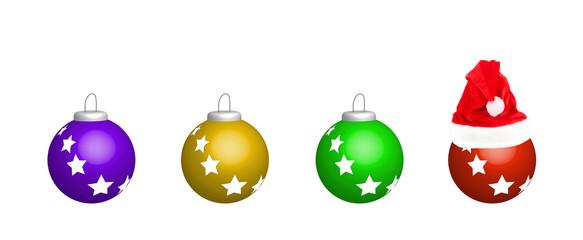 New year balls with santa hat