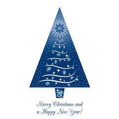 Blue Christmas Tree Greeting Card