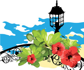 Marine. Flowers, leaves, lantern and  sea. Coast.