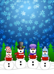Snowman Carolers Singing with Winter Snowing Scene Illustration
