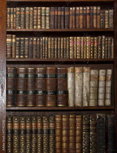 Staande foto Bibliotheek historic old books in old shelf library