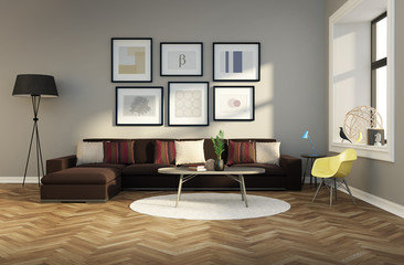Minimal design fresh interior carpet brown sofa rendering