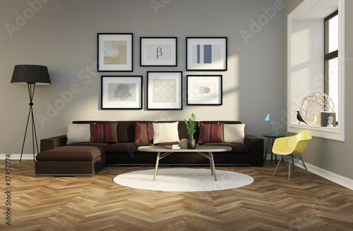 Minimal Design Fresh Interior Carpet Brown Sofa Rendering Buy