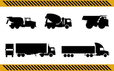set of construction machinery trucks isolated