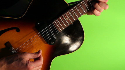 Jazz electric guitar green screen