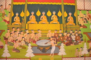 temple-wall's painting represent Thai old lifestyle (Historic)