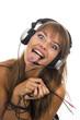 Beautiful Woman Listening Music and dancing