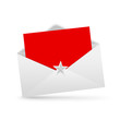 envelope letter and red paper, merry christmas isolated