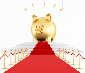 piggy bank on the red carpet