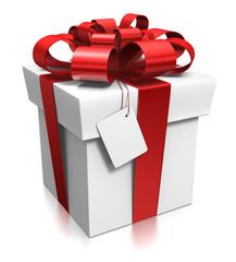 Cadeau 3d rouge et blanc avec étiquette