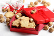 Cristmas cookies in red gift box