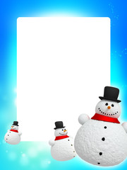 Frame of Christmas background with snowman