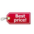 Etiqueta con texto Best price!