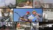 Construction workers, teamwork, split screen