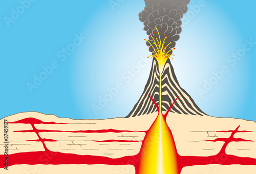 Volcano cross-section, showing layers of ash, large magma chamber, conduits, lava, crater and ash clouds. Illustration. - 37459177