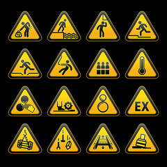 Set Triangular Warning sumbols  Hazard signs