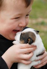 enfant, rire, et petit chien