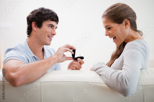 Man making a proposal to his girlfriend