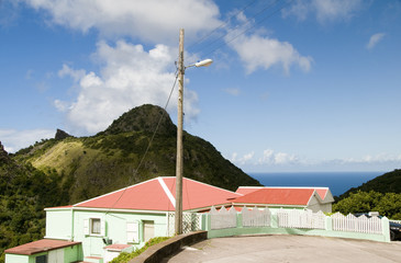 "house on ""The Road"" scenic view Saba Dutch Netherlands  Antilles"