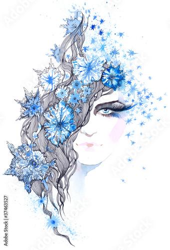 In de dag Vrouw Gezicht snowflakes