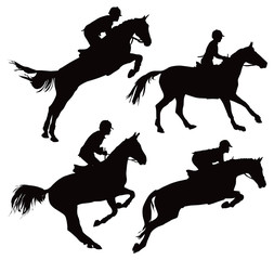 Jumping horses with jockey