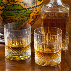 Fine bourbon whiskey in crystal tumblers