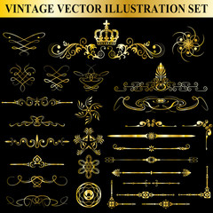 Vintage Vector Illustration Set
