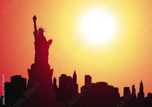 statue of liberty - new york skyline