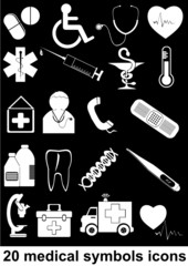 20 medical symbols icons