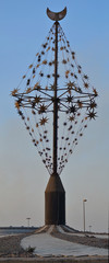 Rotary of Statue in the form of stars and moon in jeddah