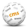 CMS, Contend Management System, Kugel, 3D, Webdesign, Begriffe