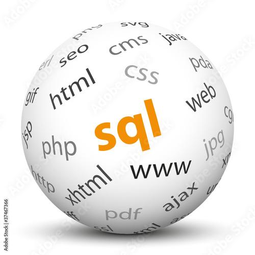 SQL, Datenbank, 3D, Kugel, Internet, Webdesign, Programmierung